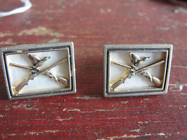 SWANK square, old cuff links, crossed guns, duck - $61.80