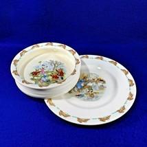 Vintage BUNNYKINS Porcelain Plate Cereal Bowl Royal Doulton England - 1959-1975 - $12.50