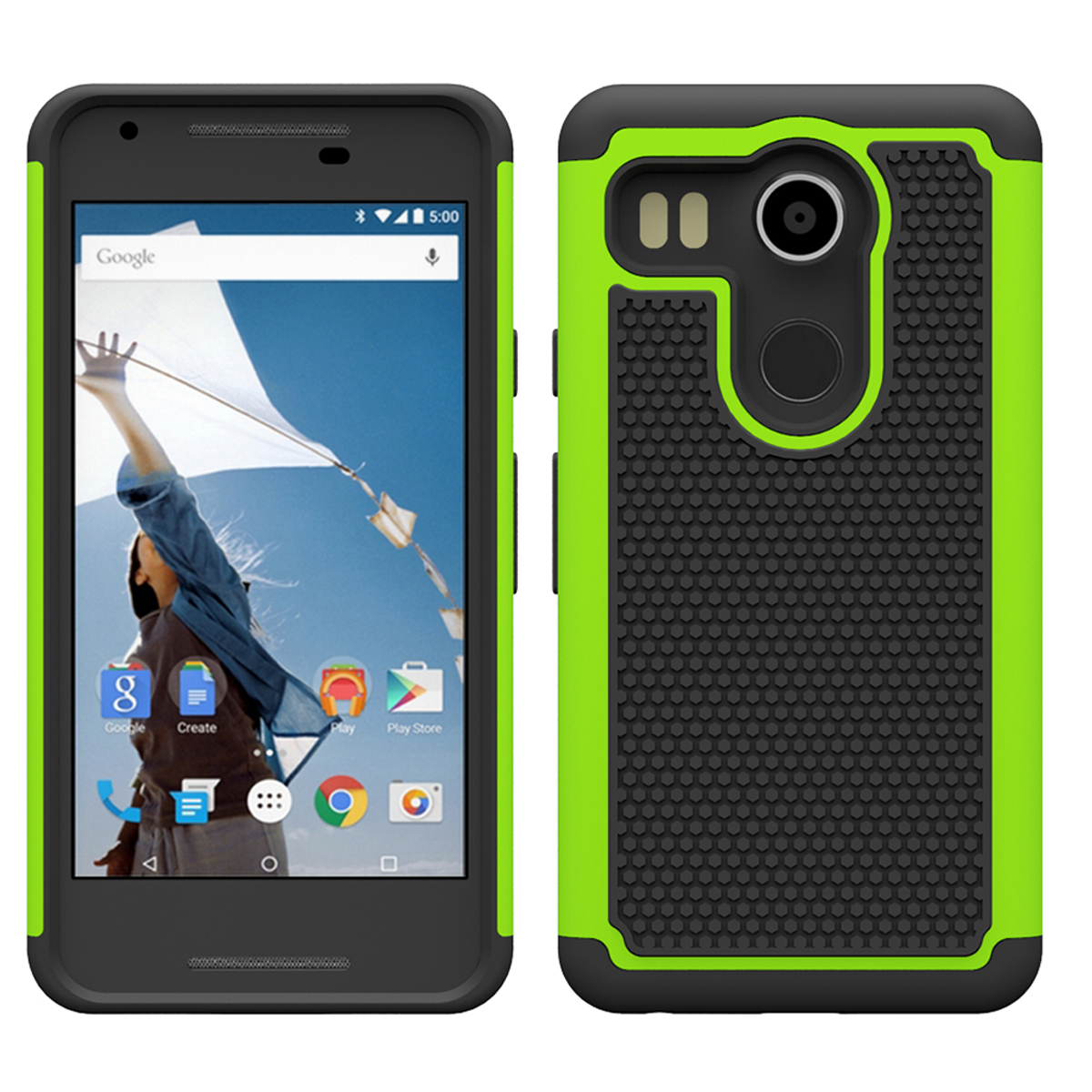 Shock absorbing dual layer hybrid protective armor case for lg nexus 5x green p20151116155951419
