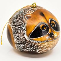 Handcrafted Carved Gourd Art Raccoon Forest Animal Ornament Made in Peru image 4