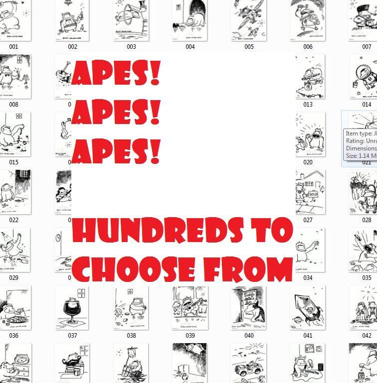 Ape Wrestlers in the Ring. Original Signed Cartoon by Walter Moore 29D12 image 3