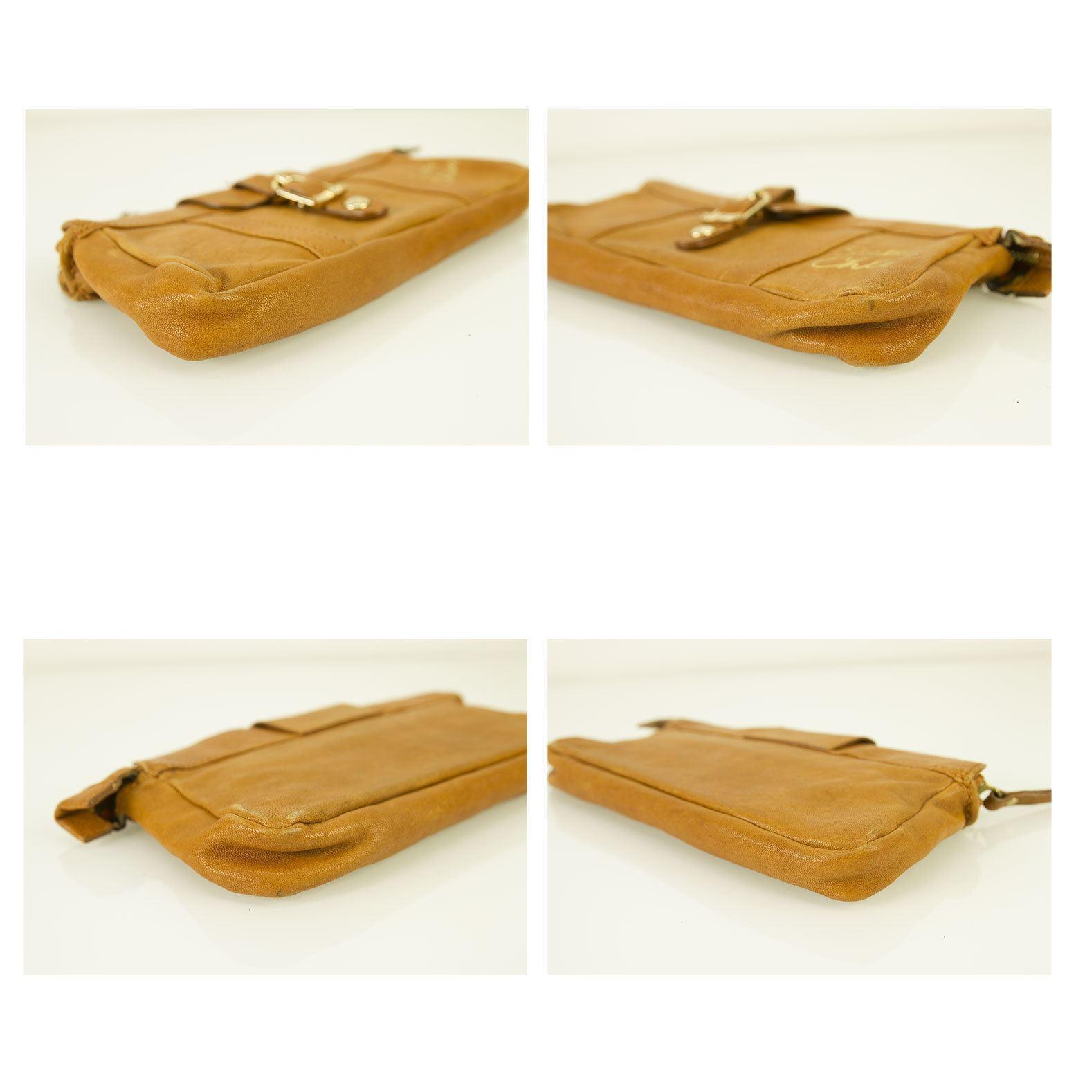 See by Chloe Tan Leather Zipper Top w. Card Slots Clutch Bag Handbag or Wallet