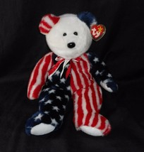 "13"" 1999 Ty B EAN Ie Baby Buddies Spangle Teddy Bear Usa Stuffed Animal Plush Toy - $18.70"