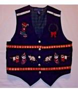 Cats Christmas Vest Sz L Cat Lover Kittens Appliques Navy Blue Lined Kar... - $25.69