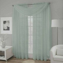 Platinum Collection Crushed Voile Sheer Window Scarf Valance in Spa Blue - $18.66