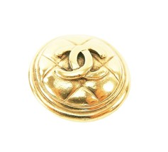 Auth Vintage CHANEL Goldtone Round Quilted CC Logo Brooch Pin #30589 - $259.00