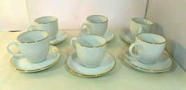 Espresso Cups + Saucers Handpainted White with Gold Trim Set of 6 Vintage - $29.99