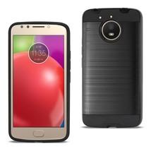 Reiko Motorola Moto E4 Plus Hybrid Metal Brushed Texture Case In Black - $8.05