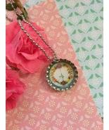 Floral Peace Sign Bottle Cap Necklace - $4.00