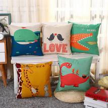 "18*18"" Cartoon Animal Linen Pillowcase Children Bedroom Cusion Cover Home Decor - $3.68"