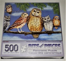 Owl Talk Bits and Pieces Panoramic Puzzle 500 Pieces  Wendy Russell Sealed New - $19.78