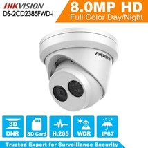 Hikvision 8MP DS-2CD2385FWD-I  POE IR WDR Network Turret Camera - $132.84