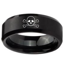 Skull 8mm Brushed Black Beveled Tungsten Carbide Engraved Ring - $43.99