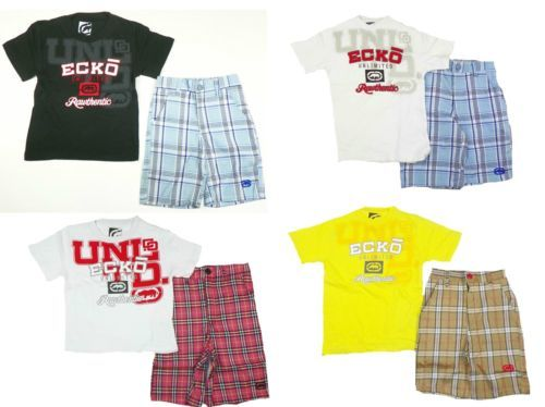Little Boy's Short Set 2-Piece ECKO Tee Shirt T-Shirt and Plaid Shorts NEW