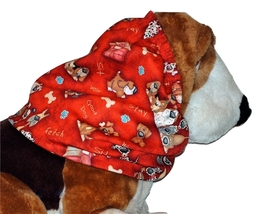 Dog Snood Fun Pack of Happy Dogs on Red Cotton by Howlin Hounds Sz Puppy... - $10.50