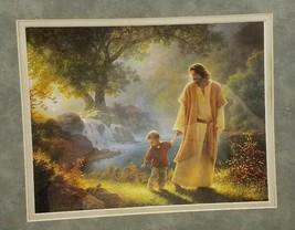 Greg Olson Jesus Holding Childs Hand Print Framed Religious Christian - $55.99