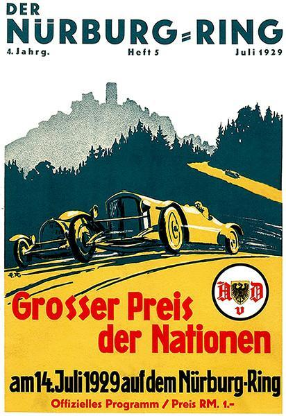 Primary image for 1929 German Grand Prix Auto Race - Nürburgring - Program Cover Poster