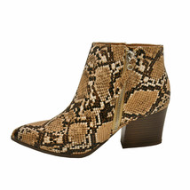 Qupid NAVA-06X Beige / Brown Snake Women's Pointy Toe Zipper Ankle Booties - $37.95