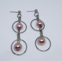 Double Sphere Light Pink Pearl Beaded Hoop Earrings - $10.00