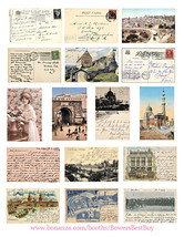 "vintage ephemera postcards collage sheet 1.6"" x 2.5"" images digital down... - $3.00"