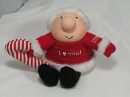 Vintage ZIGGY Doll Plush Toy I Love You Christmas Santa Candy Cane  - $9.49