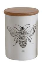 Creative Co-op Stoneware Jar with Bamboo Lid & Bee, Multicolor, Medium - $23.60