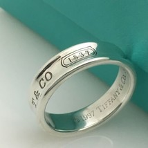 Tiffany & Co Sterling Silver Mens Unisex 1837 Ring Concave Ring Band Siz... - $189.00