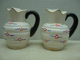 Hand painted pitcher shape porcelain.salt & pepper shaker set ,Made in J... - $4.00