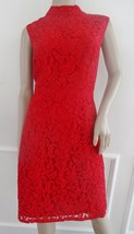Nwt Adrianna Papell Mock Neck Lace Cocktail Formal Sheath Dress  Sz 16 Red $160 - $71.23
