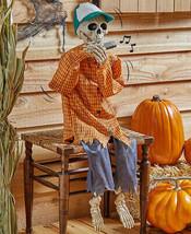 38 Tall Animatronic Harmonic Playing Skeleton Halloween Decoration Musical - $69.95
