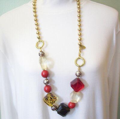 BETSEY JOHNSON Lucite Blocks Leopard Print Red Necklace Long Gold Plate Vintage