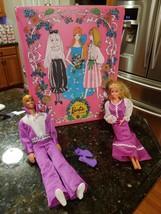Vintage 1968 Ken Disco 1966 Barbie Purple Socks Dress & 1969 Trunk Mattel Lot - $126.87