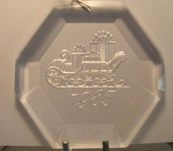Acrylic Christmas Ornament Dated 1985 Sleigh & Presents - Octagon - Vintage - $0.99