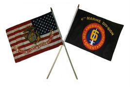 "12x18 12""x18"" Wholesale Combo EGA USA & 6th USMC Marine Division Stick Flag - $22.00"