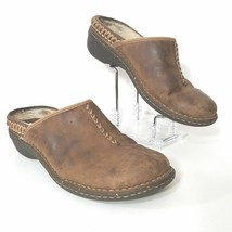 UGG Women's Size 7 Clogs Mules Brown Distressed Leather Fur Lined   - $22.76