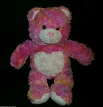 "16 ""building a bear endless hugs pink orange heart teddy bear animal - $13.10"