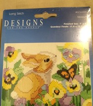 Janlynn Rabbit, Butterflys & Flower 2006 Cross Stitch #023-0395 w/Wool Yarn - $15.67