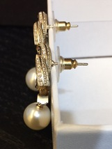 2015 CHANEL GOLD BLACK LARGE CRYSTAL CC PEARL DROP EARRINGS AUTHENTIC image 5