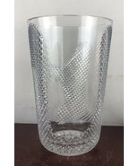 large  heavy  Thick clear glass  cut design  vase - $46.75