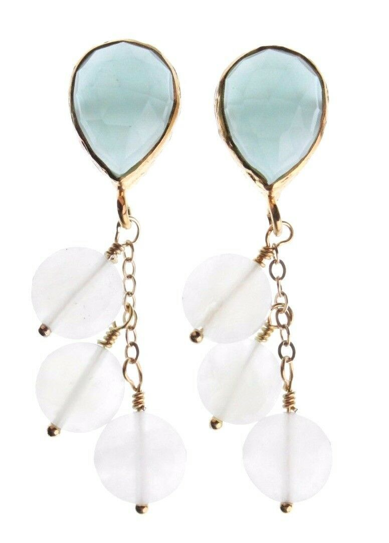 Wendy Mink NY Peruvian Calcite Top & Moonstone Cluster Drop Post Earrings NWT