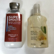 Lot of 2 Bath Body Works Lotions White Tea and Ginger and Pretty as a Peach - $29.69