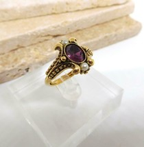Vintage Avon Amethyst Purple Faux Pearl Gold Victorian Style Ring Size 7... - $16.82