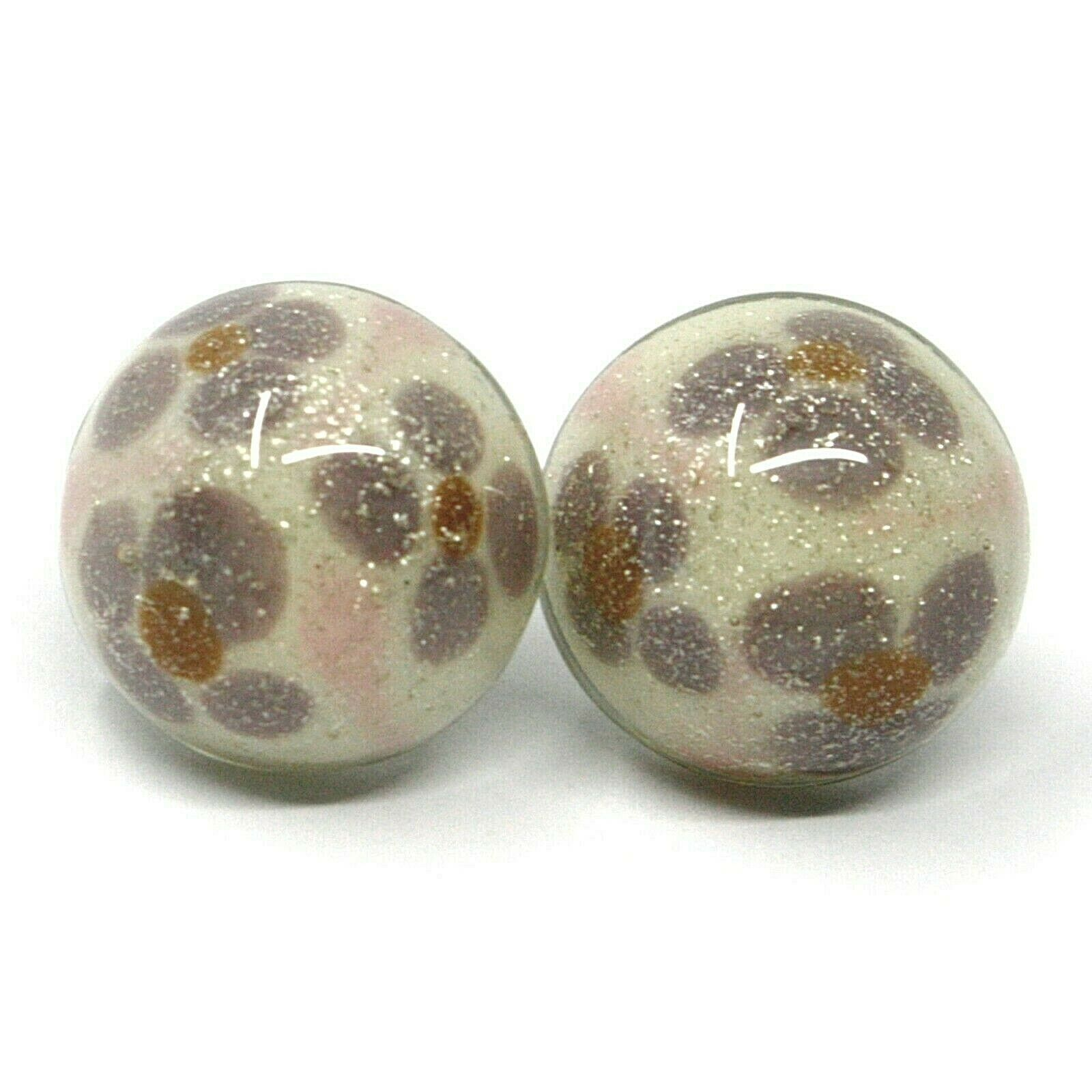 Earrings Antica Murrina Venezia, OR535A03, half Sphere, Pink Purple, Flowers