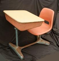 Vintage Old Art Deco Adjustable Metal Wood Child Kid School Student Desk... - $189.99