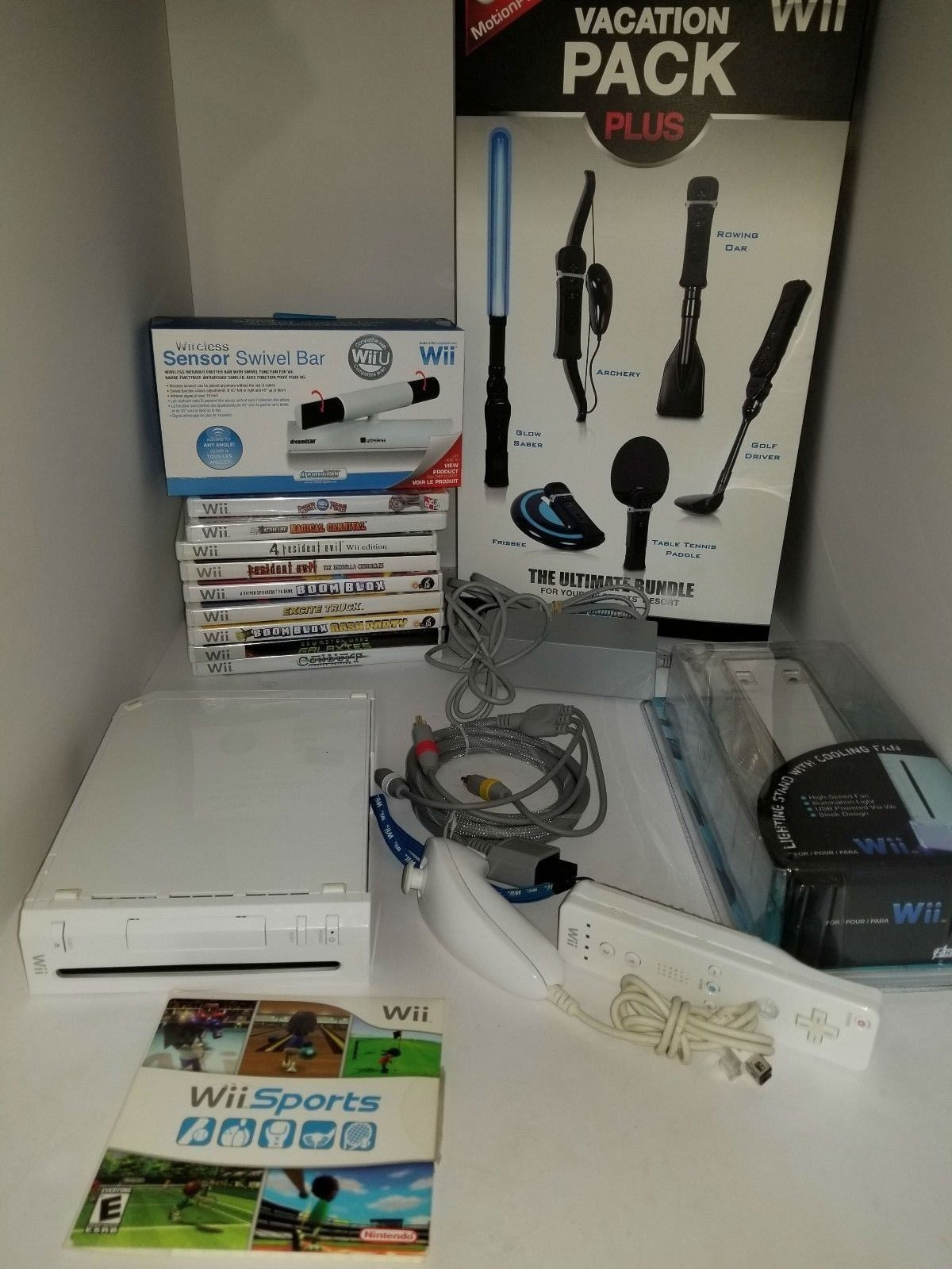 Nintendo Wii Sports White Console Complete W/ 10 Games + 8 NEW Accessories J42