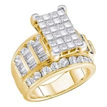 14kt Yellow Gold Princess Diamond Cluster Bridal Wedding Engagement Ring... - $6,118.00