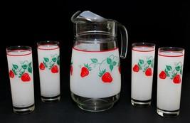Vintage 1980's Set Frosted Lemonade Pitcher & 4 Glasses Strawberries Fra... - $48.51