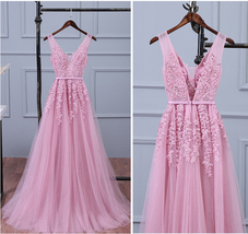 lace chiffon lace round neck long prom dress, evening dress prom dressesTulle Lo - $157.00