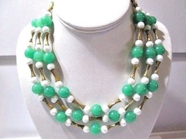 TRIPLE STRAND FAUX JADE & PEARL NECKLACE ORIENTAL CHINESE INSPIRED SIGNE... - $45.00