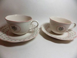 Nikko Rose Bouquet American Country (2) Cups and Saucers Pink Green - $20.32